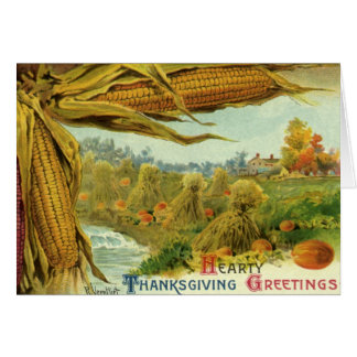 A Hearty Thanksgiving Indian Corn and Haystacks Card