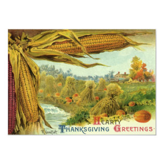 A Hearty Thanksgiving; Indian Corn and Haystacks Card