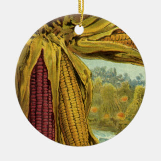 A Hearty Thanksgiving; Indian Corn and Haystacks Ceramic Ornament