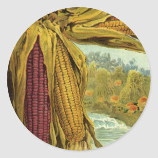 A Hearty Thanksgiving; Indian Corn and Haystacks Classic Round Sticker