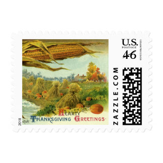 A Hearty Thanksgiving Indian Corn and Haystacks Postage Stamp