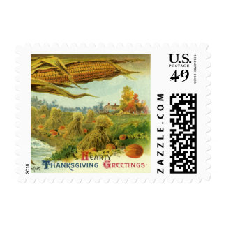 A Hearty Thanksgiving; Indian Corn and Haystacks Postage