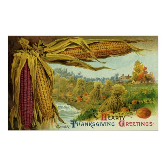A Hearty Thanksgiving, Indian Corn and Haystacks Poster