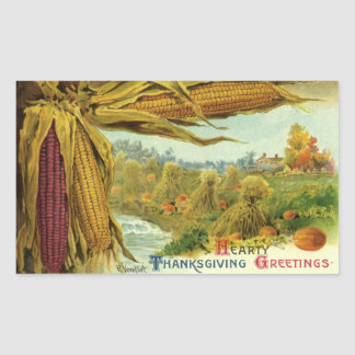A Hearty Thanksgiving; Indian Corn and Haystacks Rectangular Sticker