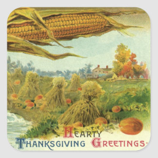 A Hearty Thanksgiving; Indian Corn and Haystacks Square Sticker