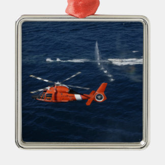 A helicopter crew trains square metal christmas ornament