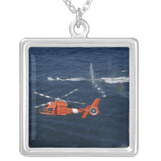 A helicopter crew trains square pendant necklace