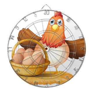 A hen and a basket of egg dartboard