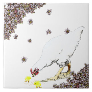 A hen and chicks ceramic tile