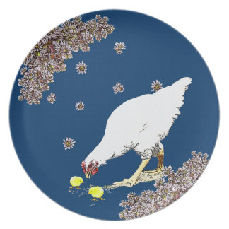 A hen and chicks plate