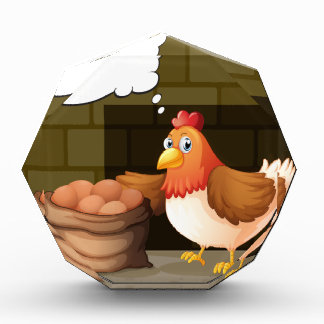 A hen beside the eggs with empty callouts award