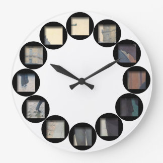A Hidden Rainy Day by Caillebotte - Customizable Large Clock