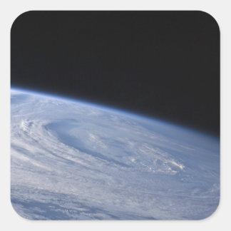 A high-oblique view square sticker