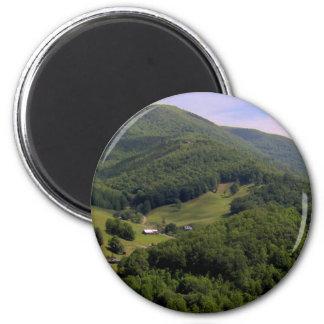 A highland pasture / Maggie Valley, North Carolina 2 Inch Round Magnet