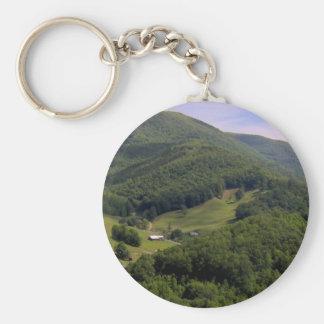 A highland pasture / Maggie Valley, North Carolina Basic Round Button Keychain