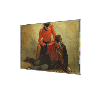 A Highlander, Black Watch attending a General of H Canvas Print