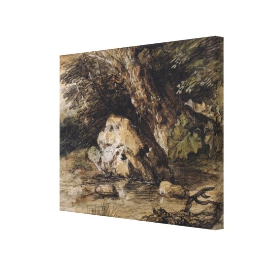 A Hilly Landscape with Figures Approaching a Bridg Canvas Print