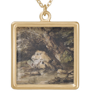 A Hilly Landscape with Figures Approaching a Bridg Gold Plated Necklace