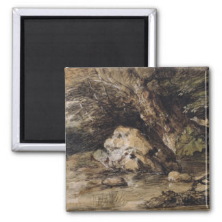 A Hilly Landscape with Figures Approaching a Bridg 2 Inch Square Magnet