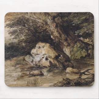 A Hilly Landscape with Figures Approaching a Bridg Mouse Pad