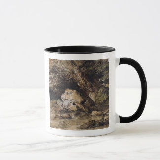 A Hilly Landscape with Figures Approaching a Bridg Mug