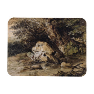 A Hilly Landscape with Figures Approaching a Bridg Rectangular Photo Magnet