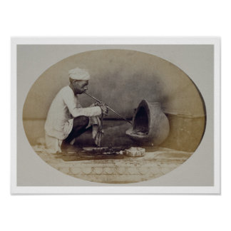 A Hindu Goldsmith in Delhi, 19th century (sepia ph Poster