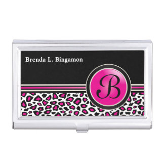 A Hip Trendy Pink, Black and White Jaguar Style Business Card Holder