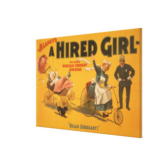 """""""A Hired Girl"""" Comedy Success Theatre Poster Canvas Print"""