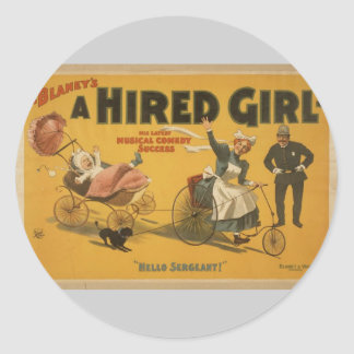 A Hired Girl, 'Hello Sergeant' Vintage Theater Sticker