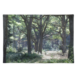 A historical wood pasture with oak trees. cloth placemat