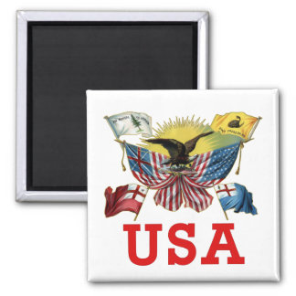 A History of American Flags on a Tshirt 2 Inch Square Magnet