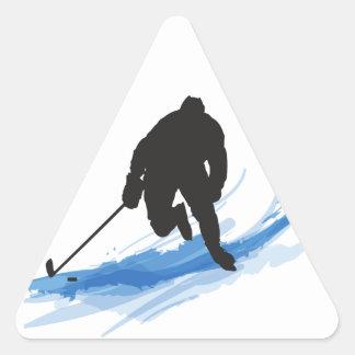 A Hockey Player on ice Triangle Sticker