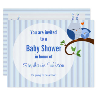 A Hoot Of A Baby Shower Blue Owl Invitation