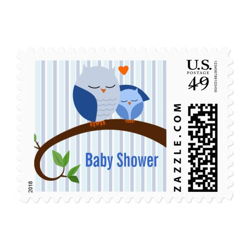 A Hoot Of A Baby Shower Blue Owls Postage Stamp