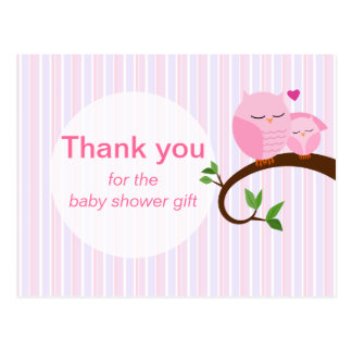 A Hoot Of A Baby Shower Owl Thank You Pinks Postcard