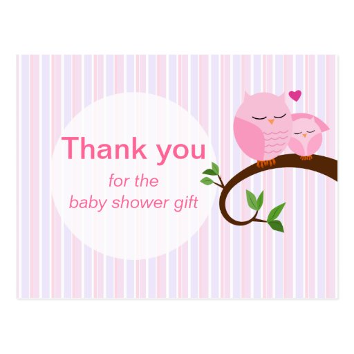 A Hoot Of A Baby Shower Owl Thank You Pinks Post Cards