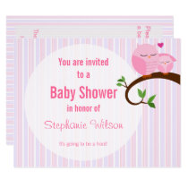 A Hoot Of A Baby Shower Pink Owl Invitation