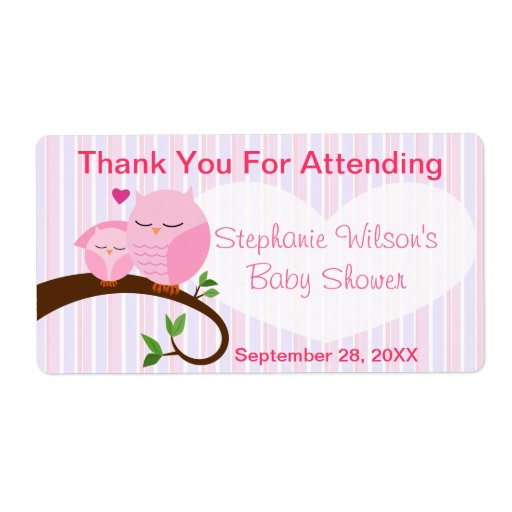 A Hoot Of A Baby Shower Pinks Favor Label