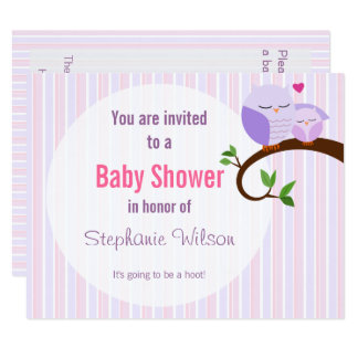 A Hoot Of A Baby Shower Purple Owl Invitation