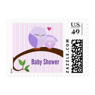 A Hoot Of A Baby Shower Purple Owls Postage Stamp