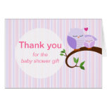 A Hoot Of A Baby Shower Purple Owls Thank You Stationery Note Card