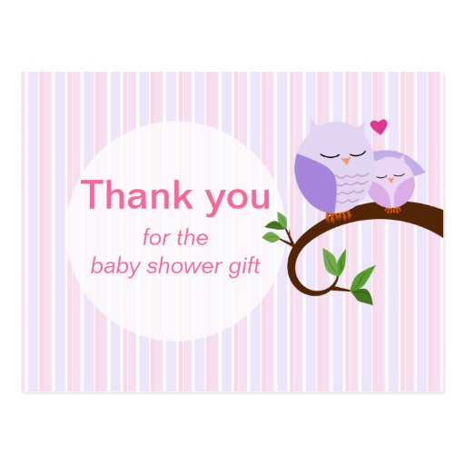 A Hoot Of A Baby Shower Purple Thank You Postcard