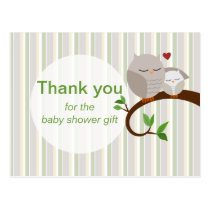A Hoot Of An Owl Baby Shower Thank You Postcard