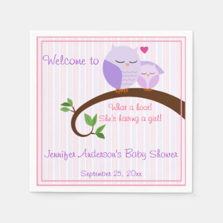 A Hoot! Purple Owls Baby Shower Napkins