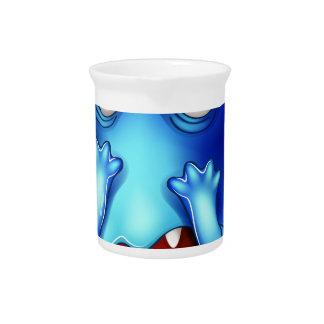 A horrified blue monster drink pitcher