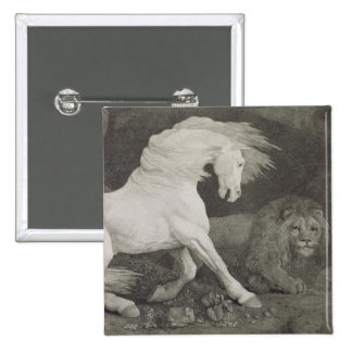 A Horse Affrighted by a Lion, engraved by the arti 2 Inch Square Button