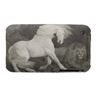 A Horse Affrighted by a Lion, engraved by the arti iPhone 3 Case-Mate Case