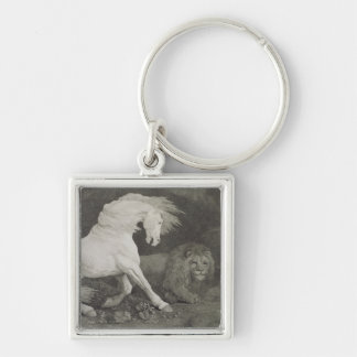 A Horse Affrighted by a Lion, engraved by the arti Keychain