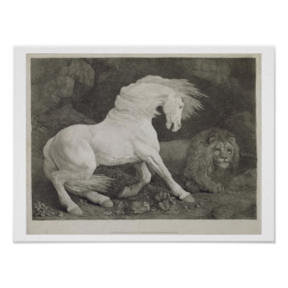 A Horse Affrighted by a Lion, engraved by the arti Poster
